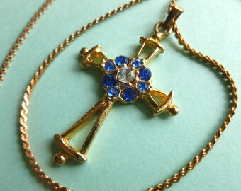 BETHLEHEM CROSS, Blue Rhinestones Goldtone Cross, Vintage Cross and Neck Chain Cross Necklace, Religious Goldtone Cross, Gold Necklace