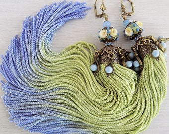 Tassel Earrings, Tassle Earrings, Periwinkle Blue, Pistachio Green, Green Jhumka, Lampwork earrings, Long Tassels, Boho Earrings, Bellydance
