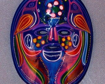 Mexican Hand Painted Mask // Fired Clay // Colorful // Home Decor // Wall Hanging // Eye & Mouth Openings //