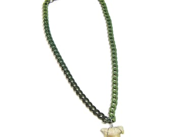 Fossil Shark Tooth CAMO Link Chain Necklace Made in USA 20, 24, 30 Inches Large Sharks Teeth 7267M