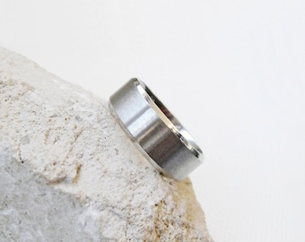 Ring hoop stainless steel, womens ring, mens ring stainless steel, wedding rings, marriage band silvery, ring clean design, simple ring,