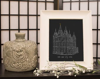 Salt Lake City Utah LDS Temple Hand Sketched Digital Print