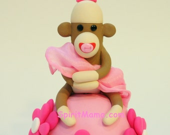 Sock Monkey Baby Shower Cake Topper for Girl w Flowers