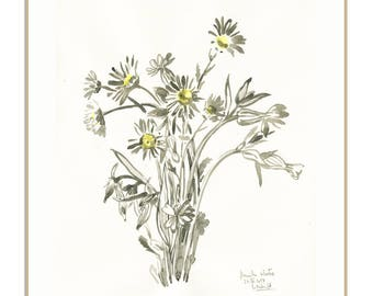 Daisies floral PRINT - black ink drawing after daisies bouquet - modern botanical print -  daisy floral wall art by Catalina