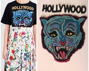 GUCCI patch tiger/patch blue tiger/Gucci patches/animal patch. GUCCI Hollywood patch.