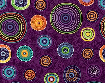 Paintbrush Studio - Walkabout 2 - Medallions - Purple - Fabric by the Yard 120-14391