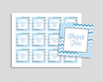 Light Blue Favor Tags, Floral Mums Shower Party Favor Tags, Baby, Bridal, INSTANT PRINTABLE