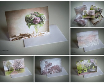Note Card Sets, Blank Inside, Photo, Art Card, With Envelope, Set of 5, Pink, Tan, Green, White, Thank You, Birthday, Get Well, Gift for Her
