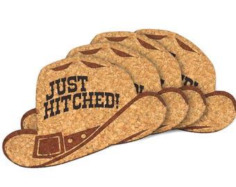 "Wedding Favor Coasters, ""Just Hitched"" Cowboy Hat Cork Coaster - Set of 4"