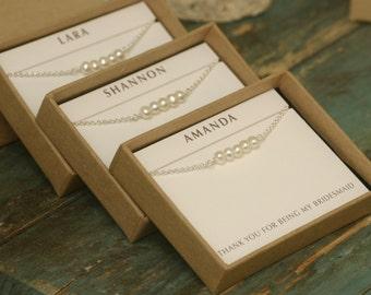 Bridesmaid bracelet set of 3 pearl bracelets for bridesmaids, bridesmaid jewelry set of 3, pearl bracelet bridesmaid - Beth