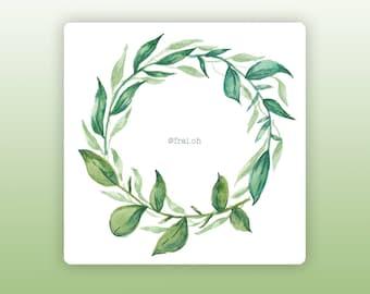 Wreath sticker • Flower wreath sticker • Plants stickers • Watercolor stickers • Planner stickers • Bullet Journal stickers