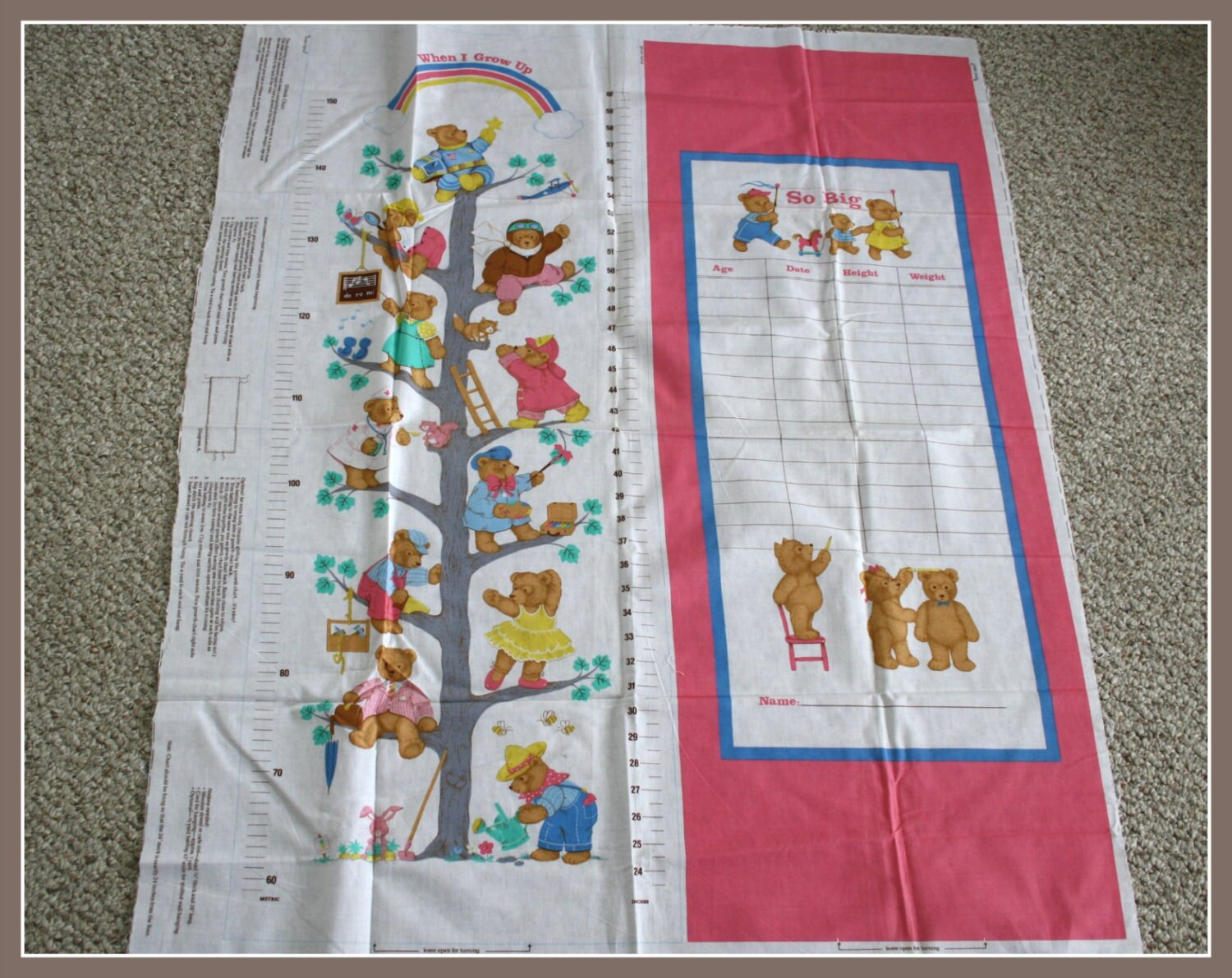 Growth chart fabric panel sewing pattern cut and sew record girls growth chart fabric panel sewing pattern cut and sew record girls height weight age and date diy growth chart with bear motif geenschuldenfo Choice Image