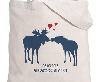 Kissing Moose silhouettes with Hearts Tote Bag -Personalized with Date and Location