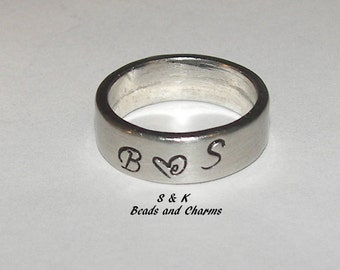 pewter ring, personalized ring, hand stamped jewelry, custom ring, mother ring, kids name ring, mommy ring, engraved ring,  hand stamped