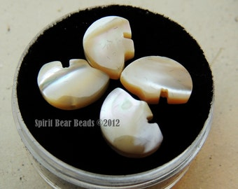 Tiny Zuni Bear Beads Golden Mother of Pearl  you get Four in a Gem Jar