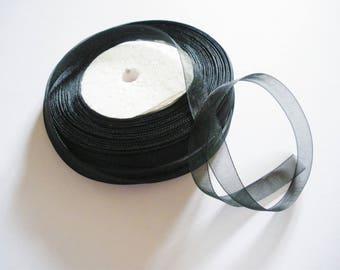 Organza Ribbon 10 mm black reel 50 m
