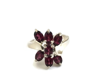 Sterling Silver Rajasthan Garnet Ring Size 9 1/4, January Birthstone Ring, Layered Garnets, Marquise Cut Garnets, Garnet Flower Ring