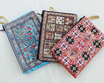 3 fabric pouch, cute pouch, cool pouch, cotton pouch, moroccan pouch, vegan pouch, zipper pouch women, coin purse, coin pouch, change pouch