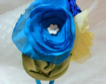 Fresh Blooms Lime Green Blue and Yellow Headband