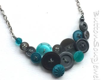 Aqua Teal and Charcoal Gray Vintage Button Statement Necklace