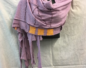 Lavender Kindred  Shawl, Recycled, Wrap,  WING,  ,OOAK
