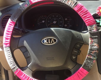Patchwork Sugar Skull Steering Wheel Cover