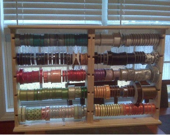 Double size Ribbon rack holds 4-5 inch spools. hinged & collapsible . store display