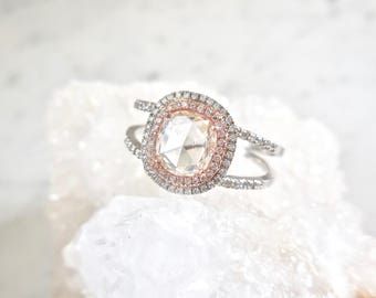 Unique Diamond Engagement Ring, Clear Rose Cut Diamond Ring, Double Band, Diamond Halo, White Gold and Rose Gold, Split Shank