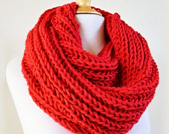 RED (Or Choose Color) infinity scarf / cowl -- wool blend, chunky, fashion accessories, chunky, scarves - gift