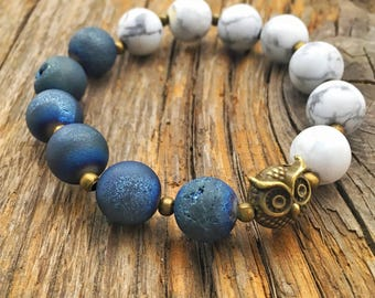 Stretchy Blue and White Owl Bracelet - Owl Bracelet - Owl Jewelry - Boho Bracelet - Stacked Bracelet - Handmade Owl Winter Bracelet