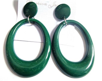 VINTAGE Earrings OVAL Earrings Green Hoop Earrings 3.75 in long