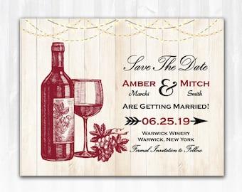 Wine Save The Date Magnet DIY Vineyard Save The Date Winery Save The Date Wood Winery Wedding Save The Date Wine Bottle Save The Date