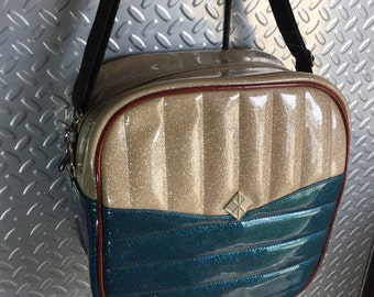 Square Diaper • CUSTOM • Glitter Retro Handbag • Sparkle Vintage Style Vinyl Bag • Metal Flake Rockabilly Purse • Psychobilly • MADE in USA