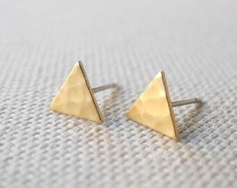 Triangle Earrings, Tiny Triangle Stud Earrings, Geometric Jewelry, Golden Brass Jewelry, Hammered Earrings, Sterling Silver Hypoallergenic