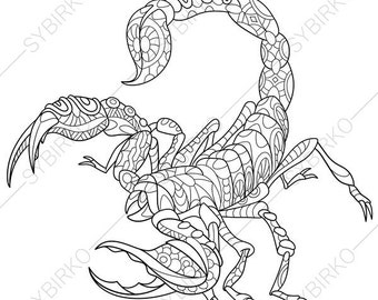 Scorpion. Scorpio Zodiac Sign. Coloring Page. Animal coloring book pages for Adults. Tattoo art ideas. Instant Download Print