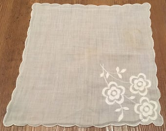 White Ladies Handkerchief Embroidered with Cheery Posies