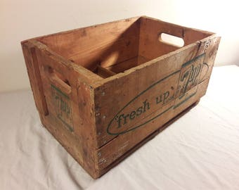 Vintage 1960s 7-Up Large Wooden Crate