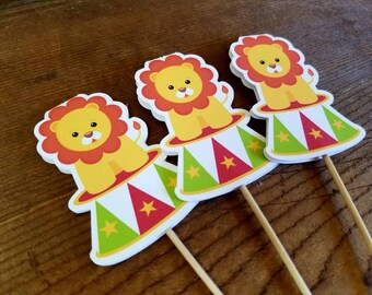 Big Top Circus Party - Set of 12 Circus Lion Cupcake Toppers by The Birthday House