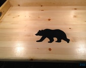 Wood Noodle Board Stove Top Cover - natural wood finish with black bear