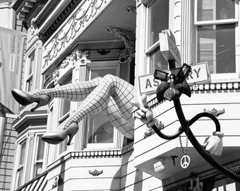 San Francisco Photography, Black and White, Haight Ashbury, California, Street Art, Architecture, Fine Art Print, Home Decor, Wall Art