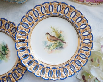Sale 10% off : Stunning reticulated hand painted bird Falcon cabinet plate C.1845