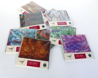 Origami paper with marbled patterns - 15x15cm - 42 sheets - kit3