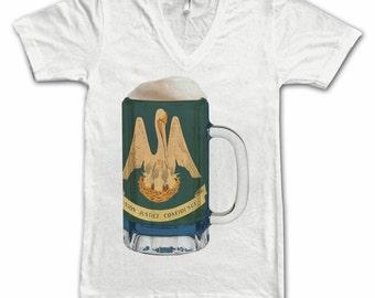 Ladies Louisiana State Flag Beer Mug Tee, Home State Tee, State Pride, State Flag, Beer Tee, Beer T-Shirt, Beer Thinkers, Beer Lovers, Tee
