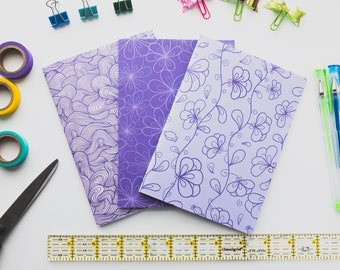 Purple Pack #2 - B6 Dot Grid note books - 3 packTN B6 inserts - B6 bullet journal - Bujo Inserts  - Travelers Notebook inserts
