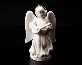 Schmid Santini 1988 Vintage Ornament Porcelain Angel Figurine Playing Banjo