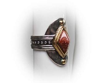 Sterling Silver Ladies Diamond Shaped Goldstone Fashion Ring