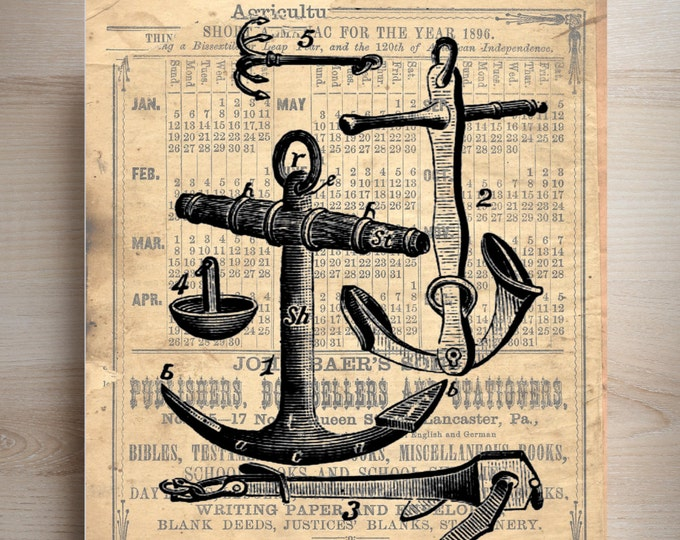 Anchors beach nautical vintage art print custom choice background antique vintage page beautiful gift decor ABN482