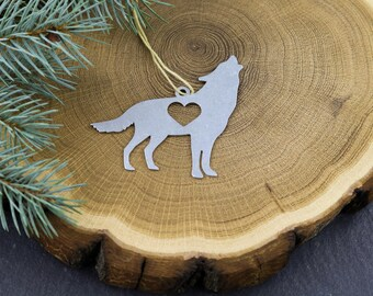 Wolf Dog Metal Ornament Rustic  Gift for Her Him Home Spring Decor Wedding Personalized Custom Engraving Stamping Animal Father's Day