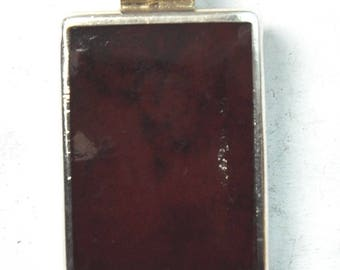 """Beautiful Mexico Sterling Silver and Red Enamel Rectangle Pendant TD 125 1 3/4"""""""