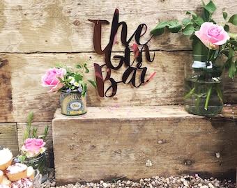Wedding Decoration - Gin Bar / Rose Gold Wedding decor, wedding sign